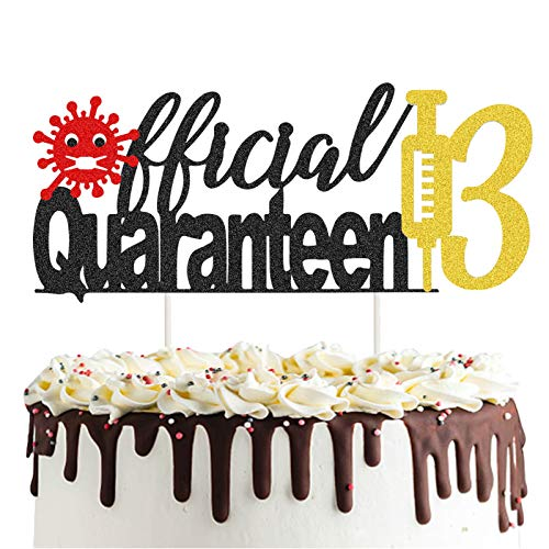 Official Quaranteen 13 Cake Topper, Black and Gold Glitter Official Teenager Cake Topper, 13 & Quarantined/13 Anniversary/13th Quarantine Birthday Party Cake Supplies Decoration