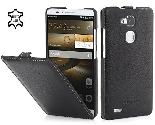 StilGut - UltraSlim Hülle, Hülle aus Leder geeignet für Huawei Ascend Mate 7, schwarz