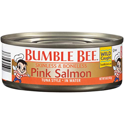 BUMBLE BEE Skinless and Boneless Pink Salmon In Water, 5 Ounce Cans (Pack of 12), Ready to Eat Salmon, High Protein Food, Keto, Gluten Free, High Protein Snack, Canned Food, Bulk Salmon