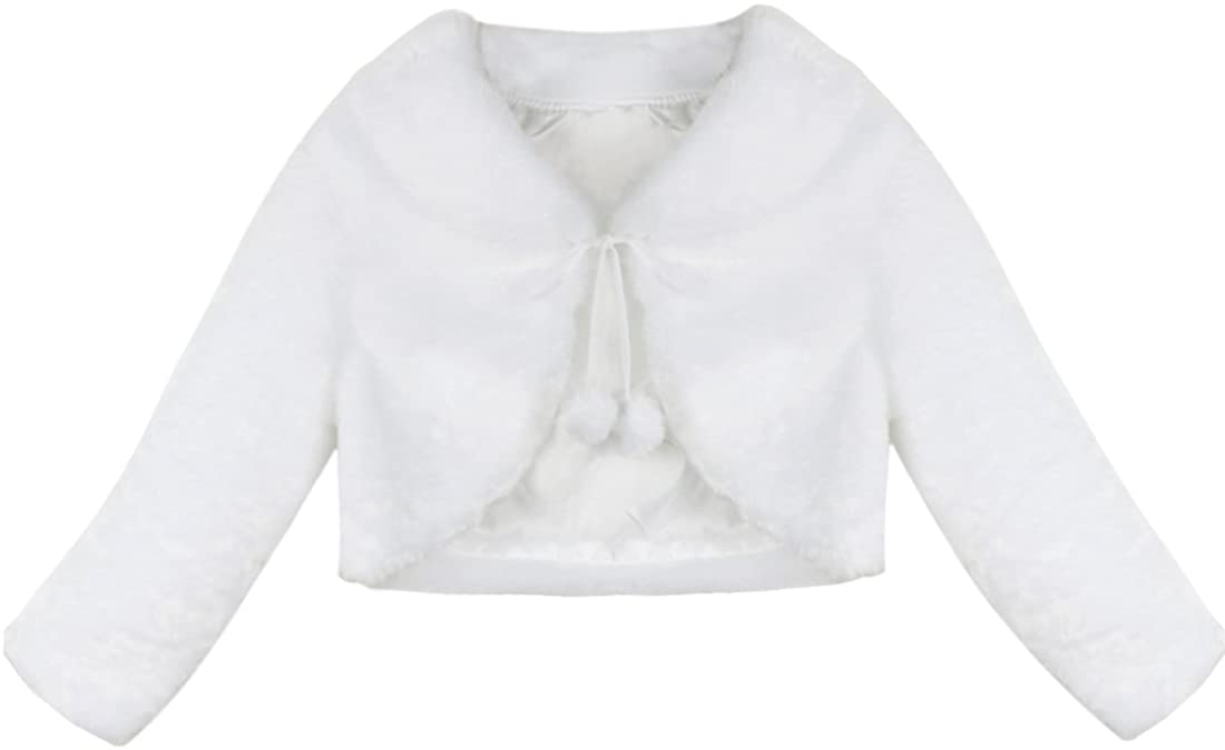 moily Kids Long Sleeve Faux Fur Max 64% OFF Dress Bolero safety Flower Girl Jacket