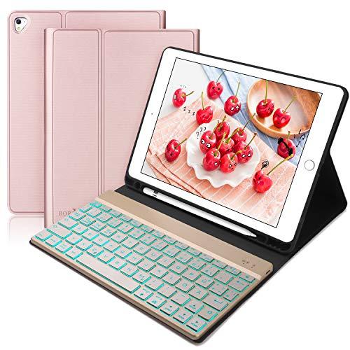 BORIYUAN Tastatur Hülle für iPad 2018 (6 Gen.), iPad 2017 (5 Gen.), iPad Air 2/1, iPad Pro 9.7 - Automatischer Schlaf/Aufwachen Hülle mit Hinterleuchtet Bluetooth Tastatur (German Layout), Rosegold