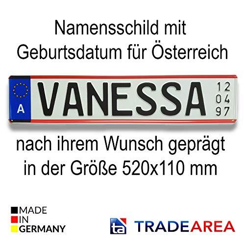 TA TradeArea Namensschild mit Geburtsdatum individualisierbares geprägtes Nummernschild egal ob Taufe oder Geburtstag (Namensschild Österreich)