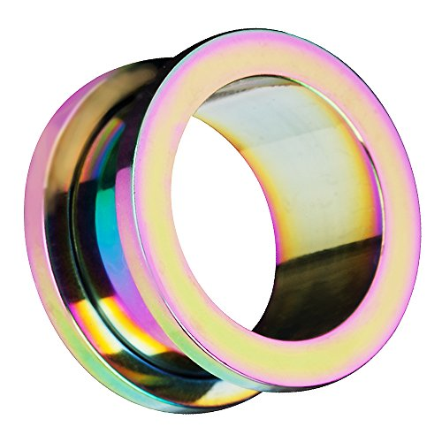 Piersando Flesh Tunnel Ohr Plug Piercing Farbige Ohrpiercing Schraub Edelstahl Ohrtunnel Creole 4mm Rainbow Regenbogen