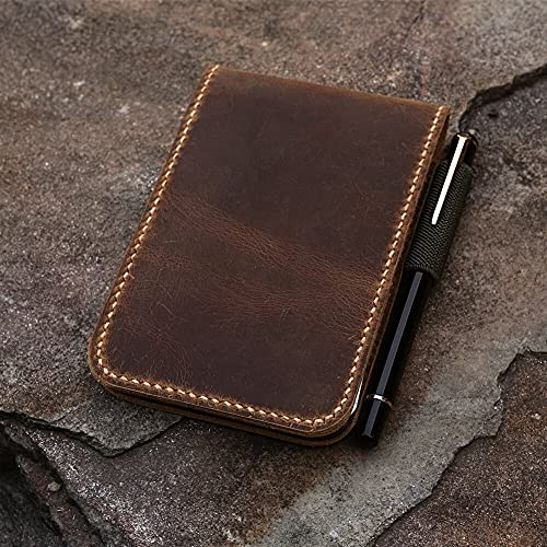 PPuujia Cuaderno de cuero genuino personalizado para cuaderno de notas de rite in the rain top-Spiral Notebook de 3' x 5' 4' x 6' grabado gratuito (tamaño: cuaderno de 4x6')
