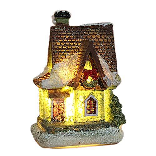 lahomia Navidad Mini Craft LED Casa Nieve Paisaje Modelo Decoración Ornamento - Estilo 4, Individual