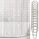mDesign Cortina de baño de vinilo – Cortinas de baño larga con 12 aros para colgar incluidos – Cortina de ducha y para bañera impermeables – 100% vinilo – transparente