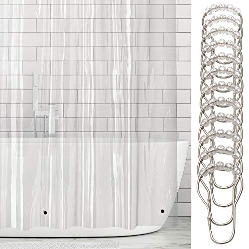 "mDesign Long Waterproof, Heavy Duty Premium Quality 4.8-Guage Vinyl Shower Curtain Liner and Rings for Bathroom Shower Stall and Bathtub - 72"" x 84"" - Clear"