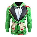 Zolimx Felpa con Cappuccio da Uomo Top Cardigan,Uomo Natale Vestito Modello 3D Stampa Manica Lunga Felpa con Cappuccio Pullover-Buon Natale, Regalo di Natale