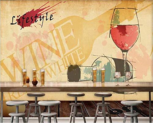 XLXBH 3D-behang zelfklevend wandschilderij Wall Wallpaper 3D mode wijn fotobehang decoratie wandschilderij bar restaurant achtergrond 3D wallpaper, kinderkamer kantoor eetkamer woonkamer decoratieve muur Kun 250x175 cm (BxH) 5 Streifen - selbstklebend