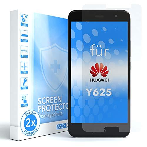 EAZY CASE 2X Panzerglas Bildschirmschutz 9H Festigkeit kompatibel mit Huawei Y625, nur 0,3 mm dick I Schutzglas aus gehärteter 2,5D Panzerglasfolie, Bildschirmschutzglas, Transparent/Kristallklar