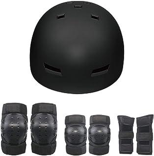 Hi-SHOCK Fahrradhelm + Schutzausrüstung/Verstellbarer Skateboard, BMX, Inliner, E-Scooter Helm mit Drehrad-Anpassung geeignet für Kinder, Erwachsene [ABS & EPS]