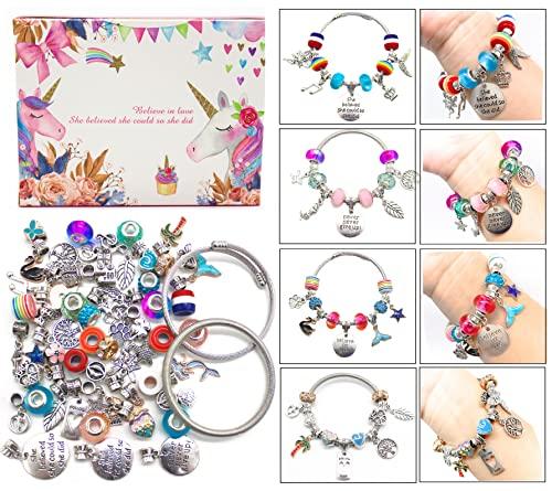 Charm Bracelet Making Kit,Jewelry Making Supplies Beads,Unicorn/Mermaid Crafts...
