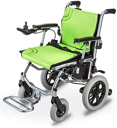 Aluminum Electric Lightweight Wheelchair, Dual Function Can Be Opened In 1 Second, Foldable Mobile Footrest, Battery Life 12 Miles Electric Or Manual Bus Travel Chair 17.72 Inch Wide Seat,Dual control