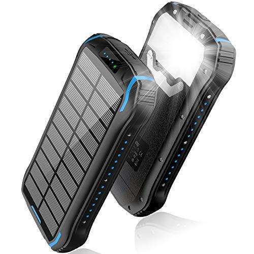 Solar Ladegerät 26800mAh, Solar Power Bank 15W Ausgabe(5V/3A) schnelles Aufladen Tragbarer wasserdichter externer Backup-Akku mit 18 integrierte LED-Leuchten für iOS, Samsung Galaxy und mehr