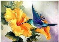 大人向けのQ&Kアートパズル500ピース木製コレクション家族向けクラシックギフト-マグパイと黄色い花