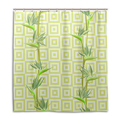 JOOCAR Cortina de ducha de diseño, diseño de flores tropicales, pájaros, paraíso,...