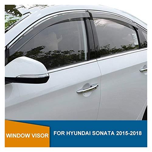 QUXING Derivabrisas para Hyundai Sonata 2015 2016 2017 2018 Deflectores Ventana Lateral Visera Ventana Humo Cortinas Ventilación Protectores Deflector Lluvia Derivabrisas Deflectores