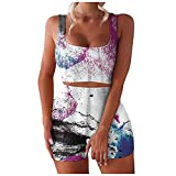 Aniywn Workout Sets for Women 2 Piece Seamless Ribbed Crop Tank High Waist Shorts Yoga Outfits Sportswear Gym Clothes