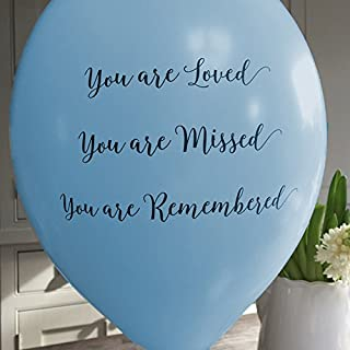ANGEL & DOVE 25 Blue 'You are Loved, Missed, Remembered' Biodegradable Funeral Remembrance Balloons - for Memory Table, Memorial, Condolence, Celebration of Life