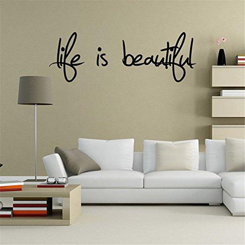 Topgrowth Wall Stickers Frasi Carta Scritte Muri In Camera Da Letto Dormitorio Soggiorno Decorazione Life Is Beautiful