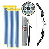 Sunbary Arco y flecha para niños con 20 flechas de ventosa, 1 diana, 1 arco y 1 soporte de flechas, regalo para niños a partir de 6 años.