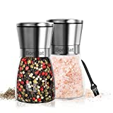 Salt and Pepper Grinder Set - Premium Stainless Steel Salt and Pepper Mill Shakers Refillable Coarseness Adjustable Ceramic Spice Grinder with a Cleaning Brush of BonPlat (2PCS/Set) (Silver)