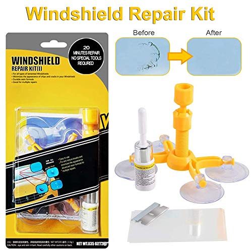 CASEIER Auto Reparaturset für Windschutzscheiben - Windschutzscheiben Reparaturset Werkzeug with Pressure Syringes for Fix Windshield Chips, Star-Shaped,Cracks, Bulls-Eye and Half-Moon Cracks