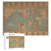 INOV ヴィンテージ 世界地図 航路および速度-1923 ジグソーパズル 木製パズル 500ピース キッズ 学習 認知 玩具 大人 ブレインティー 知育 puzzle (38 x 52 cm)