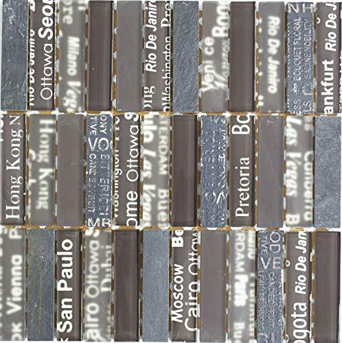Rettangolo tessere di mosaico in vetro mosaico pietra naturale Crystal Tranparent Mix Marrone I 1arco