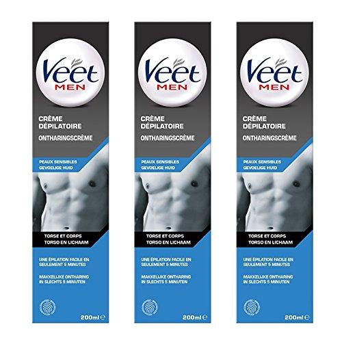 Veet Men - Crème Dépilatoire Homme - Peaux Sensibles - 200 ml - Lot de 3