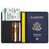 FINTIE Porte-Passeport Housse - Voyage Protecteur Portefeuille Pochette Etui de Protection pour Passeport, Carte d'embarquement, Carte d'identit, Noir