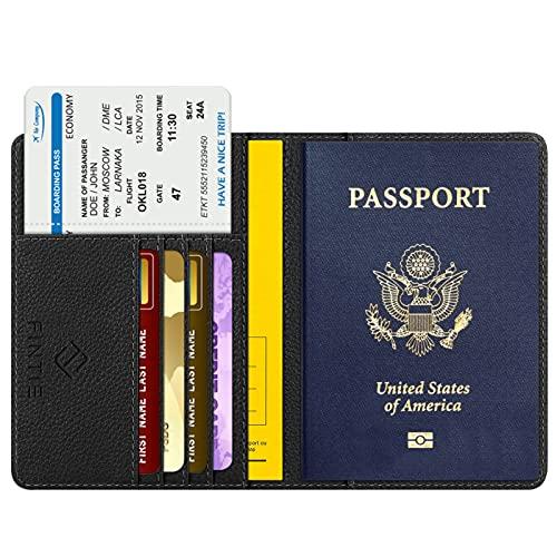 Fintie Reisepass Schutzhülle - Premium Kunstleder Reisepasshülle Halter mit RFID Blockier für Kreditkarten, Ausweis und Reisedokumente, Schwarz