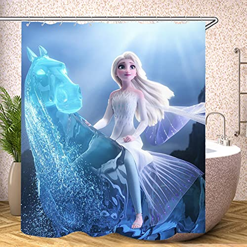 Fgolphd Forzen Duschvorhang Disney ELSA 180x200180x180 200x240 Eiskönigin Grün BlätterStrand Bunt Badezimmerteppich 4-teiliges Set,Shower Curtains Waschbar (120 x 200 cm,11)
