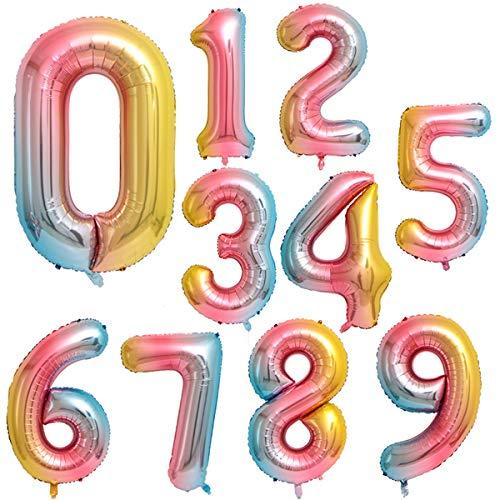 Globo Número Gigante en Metalizado Ideal para Fiesta de cumpleaños y Aniversarios - 110 cm - Hinchable (Arco Iris, Número 8)