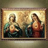 Puzzle 1000 piezas Cuadro Art Deco del Sagrado Corazón de Jesucristo Jesús y la Virgen puzzle 1000 piezas educa Rompecabezas de juguete de descompresión intelectual educativo diver50x75cm(20x30inch)