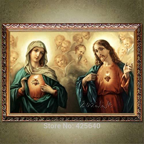 Puzzle 1000 Piezas Cuadro Art Deco del Sagrado Corazón de Jesucristo Jesús y la Virgen en Juguetes y Juegos Gran Ocio vacacional, Juegos interactivos familiares50x75cm(20x30inch)