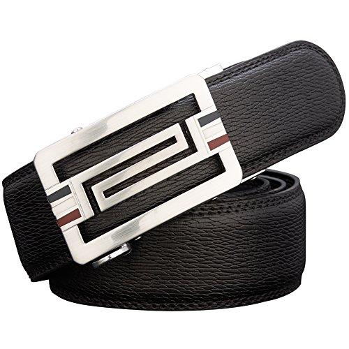 Weinida LOWD-U10030 - Cintura da uomo, in pelle, con fibbia ad ardiglione anticata, colore: nero Nero 1 S'adatta vita 37'-41'(120)