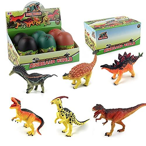 JOKFEICE Juguetes de dinosaurio, 6 piezas de huevos de dinosaurio, juguetes para quitar incluye Ankylosaurus, etc. Juego de construcción de cerebro STEM Kit de ingeniería para niños