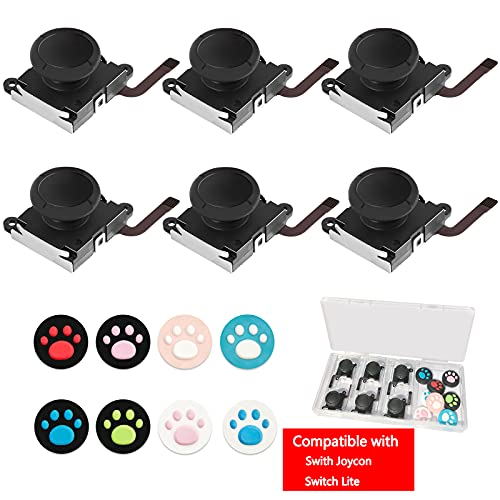 6 Pack Joycon Joystick Replacement Joy Con 3D Analog Stick Parts for Nintendo Switch and Switch Lite Controller, with 8 PCS Cat Claw Design Thumbstick...