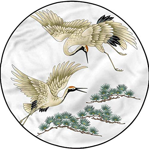 Bird Pattern Rugs for Bedroom Baby Room Decor Carpet Two Japanese Cranes Flying Diameter 60 in(152cm)