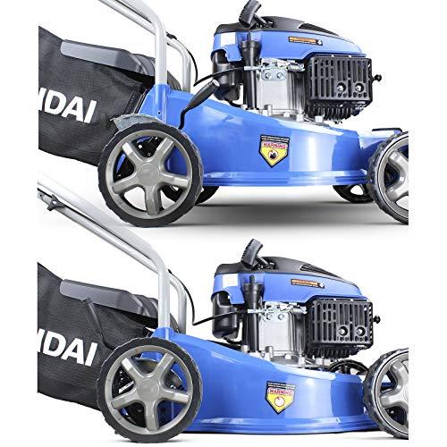Hyundai Lightweight 40cm 79cc 4 Stroke Push Rotary Petrol Lawnmower,40L Grass Bag, 7 Position Central Height Adjustment, Polypropylene Deck, Easy Storage, 3 Year Warranty, Mowers & Outdoor Power Tools