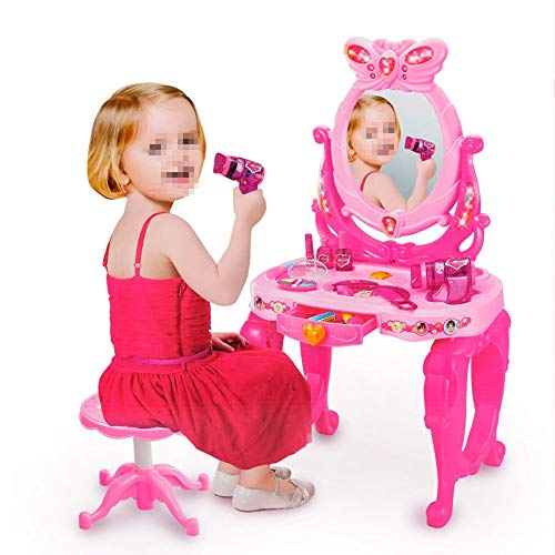 YBWEN Kids Play Outils Pretend Play Kids Vanity Table Et Chaise Beauty Mirror and Accesories Play Set with Fashion & Makeup Jouer à Faire Semblant (Couleur : Rose, Taille : 73 * 45 * 31cm)