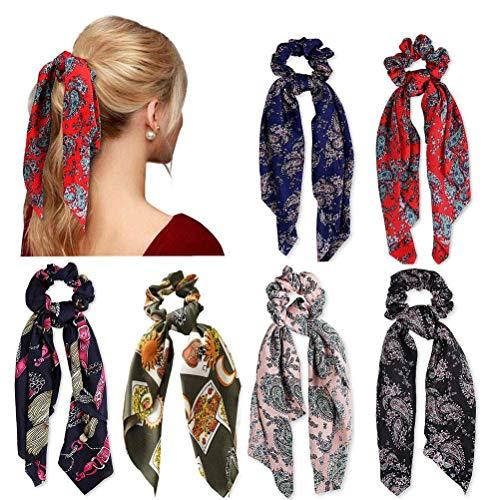 6 Pcs Cheveux Chouchous Satin Soie Élastique Bandes De Cheveux Titulaire De Queue De Cheval Titulaire Cravates Cravates Vintage Cheveux Accessoires pour Femmes Filles (6pc)