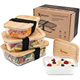Kamoro Frischhaltedosen aus Glas - Mit nachhaltigem Bambus Deckel - BPA frei [4er Set] - Vorratsdosen für Lebensmittel Aufbewahrung - Dank Gummibänder auch als Meal Prep/Lunchbox ideal geeignet