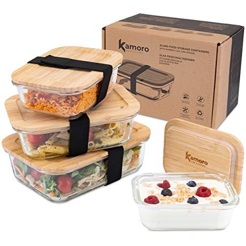 Kamoro HOME & KITCHEN Glas Frischhaltedosen 4er Set mit nachhaltigem Bambus Deckel - Glasbehälter in verschiedenen Größen mit Gummibändern zum Transport – BPA-freie Dosen/Behälter
