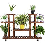 Yaheetech 4-Layer Wooden Flower Stands Rolling Flower Plant Display Shelf Storage Rack Ladder Stand Rack Corner Plant Stand Living Room Balcony Patio Yard Outdoor Indoor Ample 12 Pots Brown