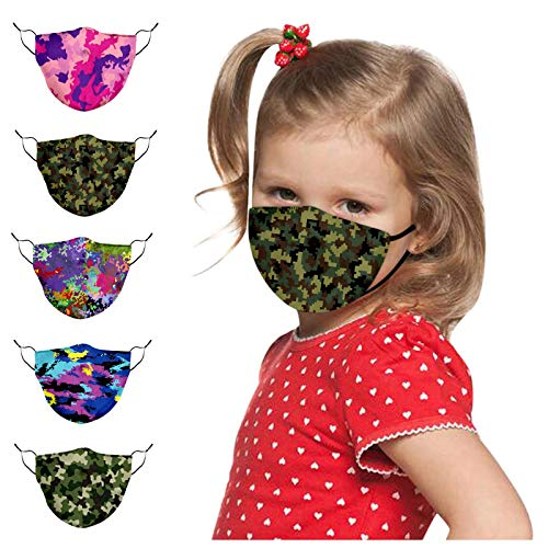 LWWOG 5PCS Children'S Face Guard Camouflage Printed Anti-Fog And Dustproof Cotton Cloth Washable Reusable Soft Comfortable And Adjustable