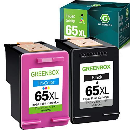 GREENBOX Remanufactured Ink Cartridge Replacement for HP 65XL 65 XL for Envy 5055 5052 5058 DeskJet 3755 3752 2652 2655 2622 3720 3722 2624 3758 AMP 100 Printer (1 Black 1 Tri-Color)