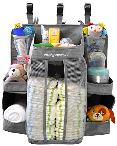 Hanging Diaper Caddy Organizer for Changing Table, Crib | Stain-Resistant Diaper Stacker | 6 Shelves & 2 Pockets ● Nursery Organizer for Baby Girl/Boy with Reinforced Stitching & 3 Buckle Straps