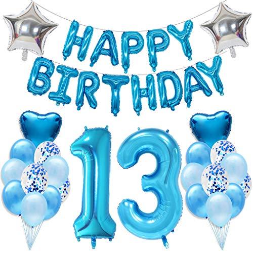 Ouceanwin 13 Cumpleaños Decoraciones Azul, Gigante Globos Numeros 13, Bandera de Globos Happy Birthday, Globos de Confeti, 13 años Fiesta de Cumpleaños Kit para Niño Niños